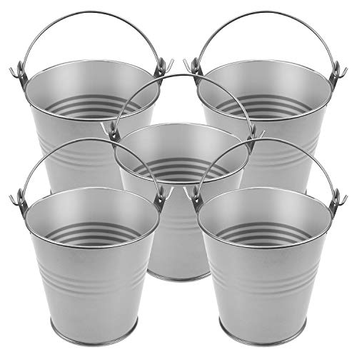 Homgaty 5 Pieces Small Metal Bucket Galvanized Buckets,Icing French Fries Tin Pails for Wedding Party - Tin Pails Decorative