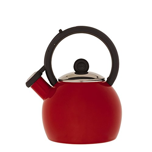 - Copco Vienna 1-1/2-Quart Enamel on Steel Tea Kettle, Red