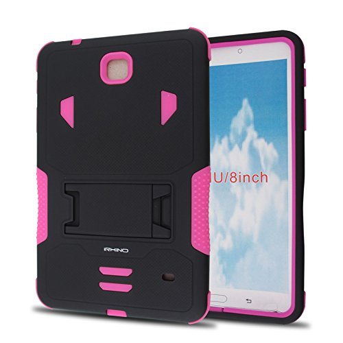iRhino For Samsung Galaxy Tab 4 8.0 / 8-inch (SM-T330) Heavy Duty Armor Rugged Hybrid Kickstand Protective Cover Case (Black on Pink)