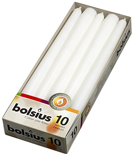 BOLSIUS 10 inch White Taper Candles (10 in a Box) (Also Avail in Box of 100) ()