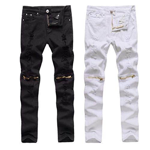 Slim Pantaloni Denim Jeans R Skinny Streetwear Fit Strappato Ragazzi Ginocchio Da Stretch Nero Chiusura A Uomo Classiche Moto Distrutti HHBvPwFgWq