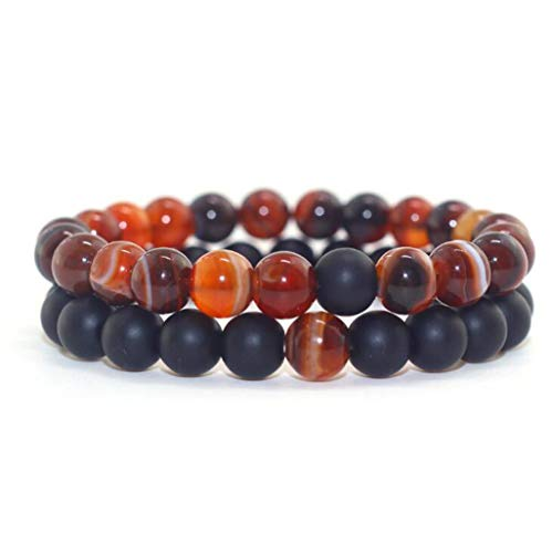 Fashion Hot 2pcs/Set Couples Bracelet for Lovers Natural Stone Beads Strand Bracelets Simple Man and Woman Beaded Bracelets