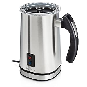 Brewberry Automatic Milk Frother & Heater for Extra Foamy Cappuccino, Latte & More, Cordless Electric Hot and Cold Drink Frothing Mug with Detachable Base for Easy Serving, Stainless Steel