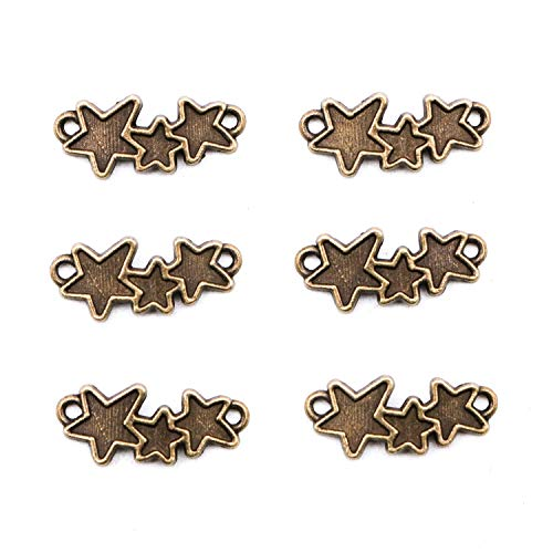 JETEHO 100Pcs Star Connector Charms for Bracelet Necklace Jewelry Making DIY Craft Projects (Antique Bronze)