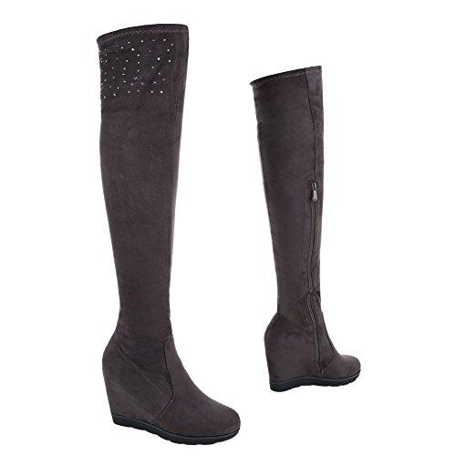 Wedge Stiefel Ital Reißverschluss Overknee Design Stiefel Damenschuhe Klassischer Grau Keilabsatz Keilabsatz Stiefel SqO1S7