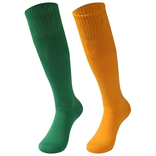 saounisi Men Knee High Socks,2 Pairs Solid Color Football Baseball Soccer Sports Tube Long Compression Working Socks Size 9-13 Green/Orange]()