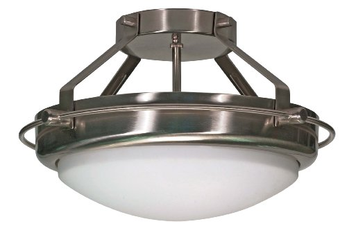 Nuvo Lighting 60/492 Polaris 2-Light Semi-Flush with White Opal Glass Shade, Brushed Nickel ()