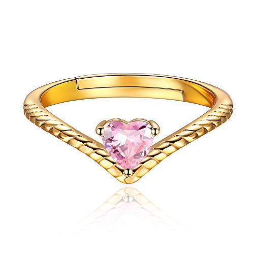 Oct Birthstone Promise Rings Pink Crystal Jewelry Love Heart 18K Gold Plated Sterling Silver Eternity Bands Engagement Rings for Her