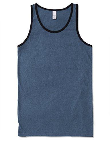 JD Apparel Mens Men's Basic Athletic Jersey Tank Top Contrast Binding L Denim Black by JD Apparel