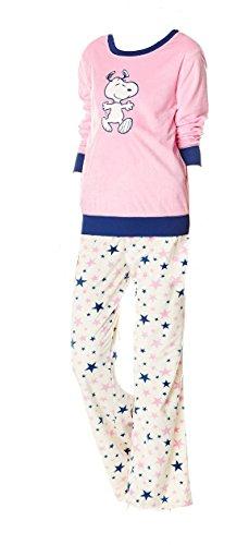 snoopy womens peanuts print pajama set pink medium