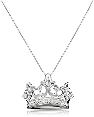 10k White Gold Diamond Crown Pendant (1/4 cttw, I-J Color, I1-I2 Clarity), 18″