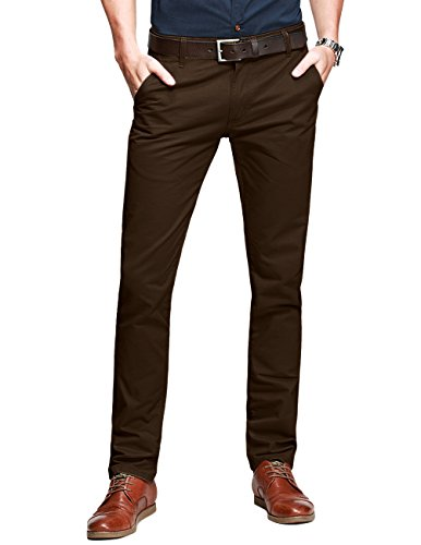 - Match Mens Slim-Tapered Flat-Front Casual Pants(8025 Dark Brown#2, 32W x 31L)