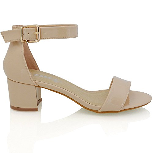 Essex Glam Womens Low Heel Strappy Synthetic Sandals (8 B(M) US, NUDE (Faux Leather Strappy Heel Wedge)