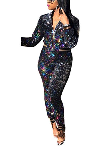 2e00f3cff9f Akmipoem Women s Sequin 2 Piece Outfit Long Sleeve Zip Up Jacket and Bodycon  Pants Set