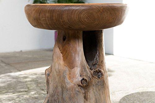Windalf sgabello coleen h: 45 cm in legno di teak sgabello pezzo