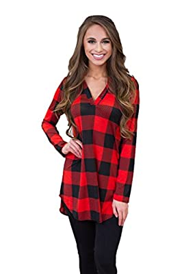 Women's Plaid Shirt Long Sleeve Vneck Check Pullover Casual Plaid Top