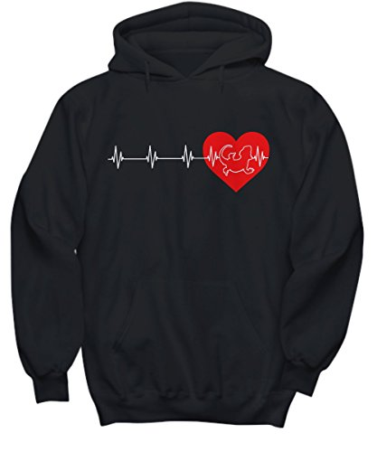 mmandiDESIGNS Bearded Dragon Heartbeat Hoodie - Lizard Lover Hooded Sweatshirt - Medium