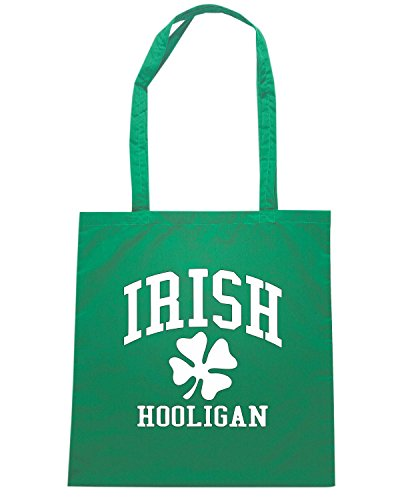 T-Shirtshock - Bolsa para la compra OLDENG00840 irish hooligan shamrock Verde