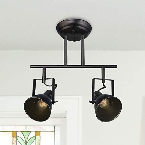 LALUZ Semi Flush Mount Adjustable 2 Heads Track Lighting Fixture Modern Ceiling Spotlight, A03201 (Lighting Bar Ceiling)
