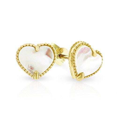 (14k Yellow Gold Womens Fancy 8mm Love Heart Mother of Pearl Stud Earrings)