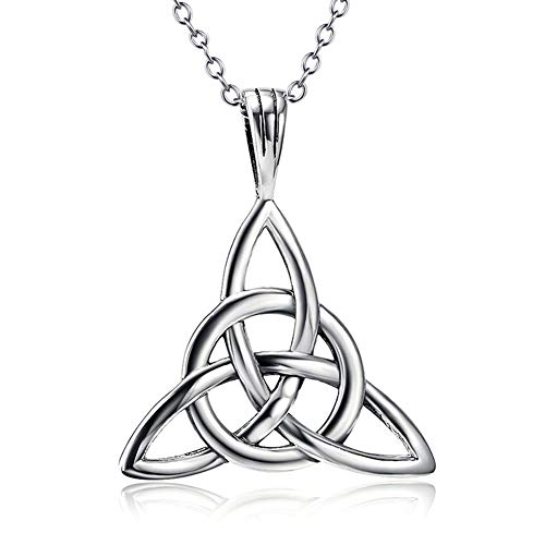 - Women Sterling Silver Necklace Celtic Knot Pendant Jewelry Eternal Love Triangle Anniversary Engaged Gift Accessories,B