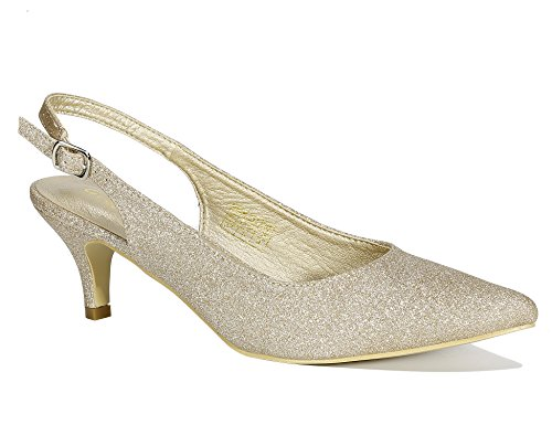Greatonu Women Court Shoes Sexy Closed Toe Glitter Kitten Heels Gold Comfortable Slingback Dress Pumps Size 9