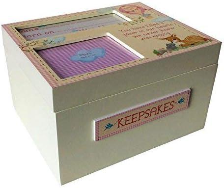 Caja de Madera para Recuerdos de Bebé Hecha a Mano con Detalles Decorativos - Madera, Rosa: Amazon.es: Hogar