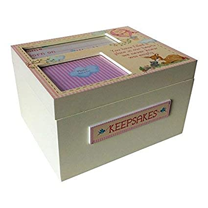 Caja de Madera para Recuerdos de Bebé Hecha a Mano con Detalles Decorativos - Madera,