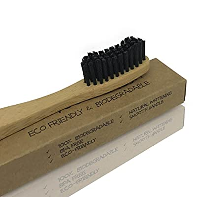 Bamboo Toothbrush - Natural Organic Wooden Eco Friendly 100% Biodegradable Recyclable Tooth Brush Enhancing Natural Teeth Whitening - Medium Activated Charcoal Bristles - Environmentally Friendly 100%
