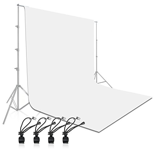 Emart Backdrops 6x9' White Pure Muslin 100% Cotton Collapsible Backdrop Background for Photography Video and Televison (Background ONLY)