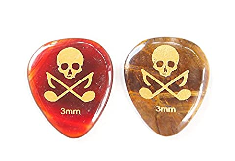 Skull and Tones Gemstone Guitar Picks 3mm Thick 2 Picks Per Order - Red Agate and Tiger Eye (Acoustic Guitar Phitz)
