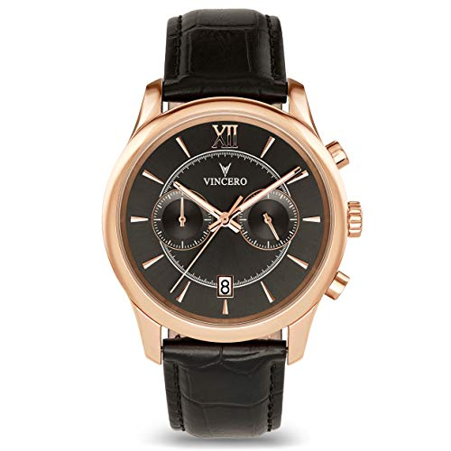Vincero Luxury Men's Bellwether Wrist Watch - Rose Gold with Black Leather Watch Band - 43mm Chronograph Watch - Japanese Quartz Movement