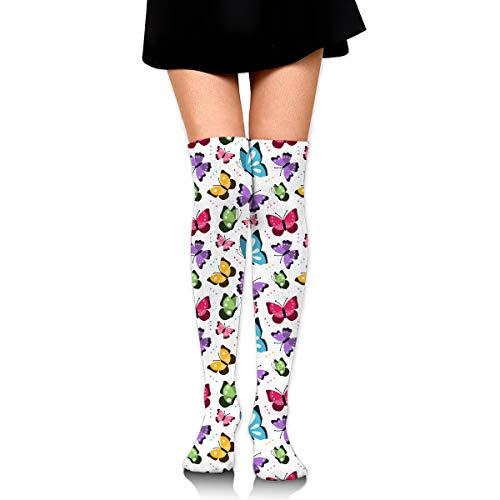 - SWEET-YZ Women's Over Knee Thigh High Stockings Colorful Butterflies Tube Stocking Cosplay Socks
