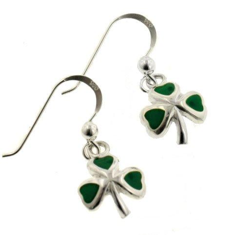 Green Enameled Irish Shamrock or Clover Sterling Silver Hook Earrings