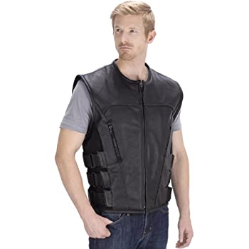 Viking Cycle Odin Motorcycle Leather Vest for Men (3XL)