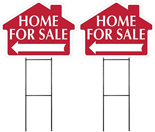 HOME FOR SALE Sign with Arrow 2 Pack - RED -House Shape Corrugated Sign Kit INCLUDES 24