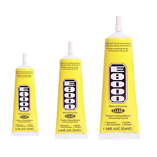 Samoii E8000 Clear Adhesive Sealant Glue Multifunction Waterproof Non-Drip Glue for DIY Diamond Shoes Paste Jewelry Craft 3pcs