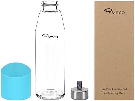Ryaco Botella de Agua Cristal 500ml, Botella de Agua Reutilizable ...