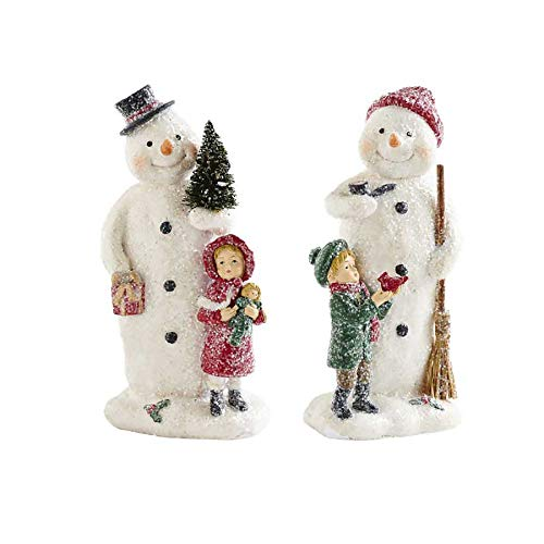 K&K Interiors Vintage Glitter Snowmen with Children Figurines, Resin Tabletop Decor, Set of 2, 8 Inch (8)