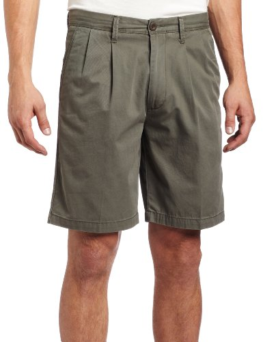 Washed Pleated Short Khaki - Dockers Men's Washed Khaki Short Pleat Classic Fit, Oregano - discontinued, 36W