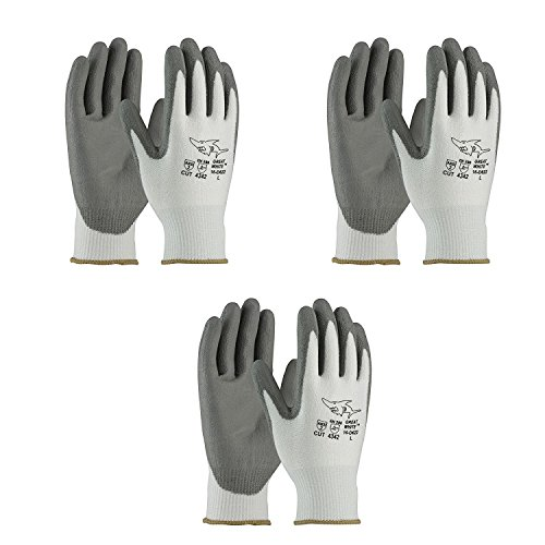 PIP 16-D622 G-Tek PolyKor Seamless Knit PolyKor Blended Gloves - Polyurethane Coated Smooth Grip on Palm & Fingers (3 Pair Pack) (Tek Grip)