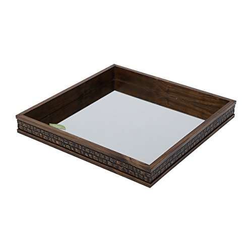 WoodArt Wood and Mirror Decorative Tray- Serving Platter (14x14x2