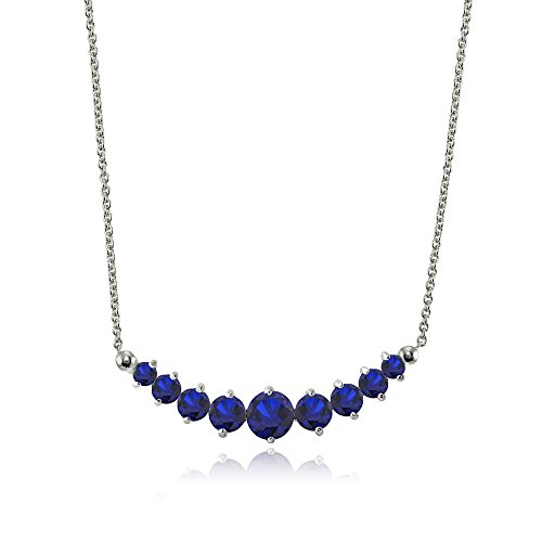 LOVVE Sterling Silver Created Sapphire Graduated Journey Necklace with 18 Inch (Sapphire Journey Necklace)