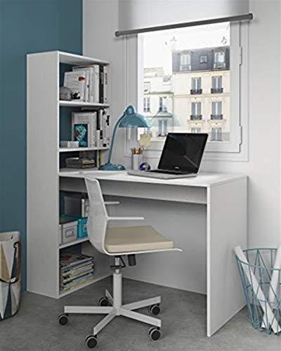 Habitdesign 008314A - Escritorio y estanteria reversible, mesa de oficina o estudio acabada en color Blanco, 144 x 120 x 53 cm