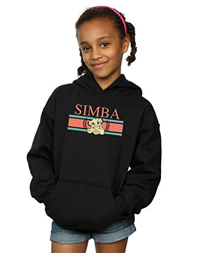 Disney Girls The Lion King Simba Stripes Hoodie Black 9-11 Years