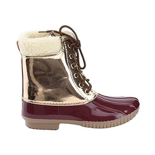 AXNY DYLAN-3 Frauen zwei Ton Lace Up Knöchel Regen Entenstiefel Metallischer Bordeaux