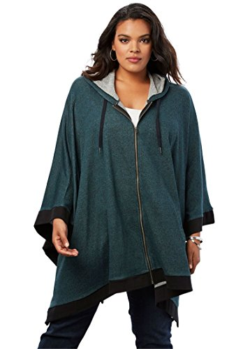 Roamans Women's Plus Size Hooded Zip Poncho (Poncho Ribbed)