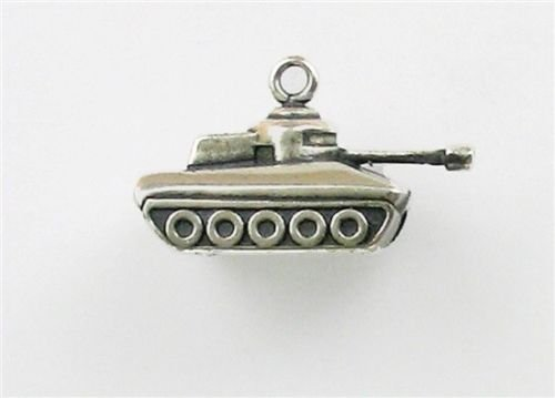 (Sterling Silver 3-D Tank Charm - Jewelry Accessories Key Chain Bracelet Necklace Pendants)