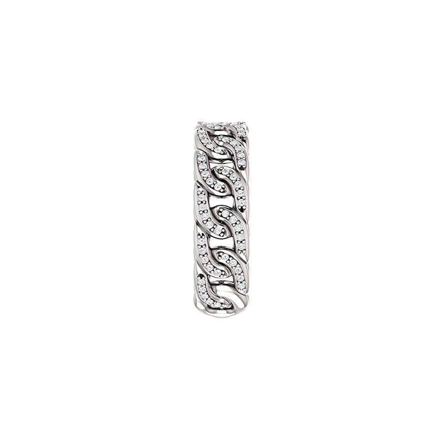 1.33 ct Ladies Round Cut Diamond Link Wedding Band Ring in 14 kt White Gold