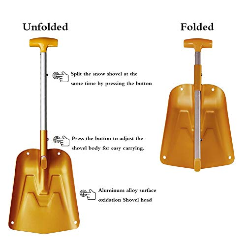 AceCamp Lightweight Collapsible Snow Shovel, Portable Adjustable Aluminum Emergency Shovel, Foldable Telescopic Winter Shovel for Car, Camping, Home by AceCamp (Image #4)